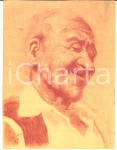 1922 ASTI Testa di vecchio contadino - Disegno matita sanguigna FIRMATO 17x22