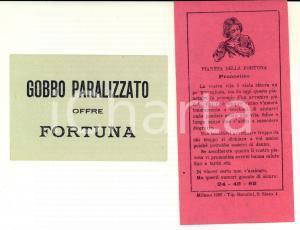 1922 MILANO LOTTERIE Gobbo paralizzato offre fortuna - Busta con numeri LOTTO