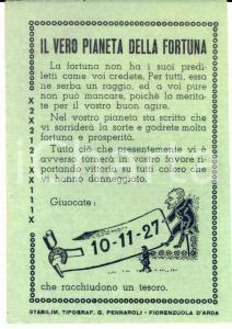 1910 ca LOTTERIE - IL VERO PIANETA DELLA FORTUNA - Pronostico - Numeri LOTTO