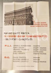 1970 ca MILANO Elezioni comunali- Manifesto PROPAGANDA PLI - DC 70x100 cm