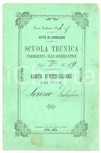 1875 SAVIGLIANO (CN) Pagella di Sereno BALDASSARRE - Scuola tecnica