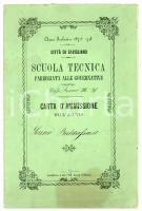 1874 SAVIGLIANO (CN) Pagella di Sereno BALDASSARRE - Scuola tecnica