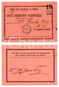 1896 MONACO Cercle des Étrangèrs - Carlo GAMBA *Carte d'admission personnelle