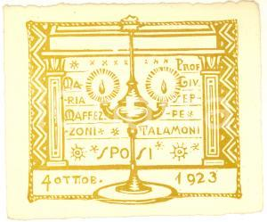 1923 VARESE Nozze prof. Giuseppe TALAMONI - Maria MAFFEZZONI - Biglietto