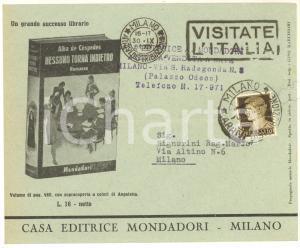 1941 MILANO MONDADORI Romanzo Alba De Cespedes - Busta pubblicitaria VUOTA VG