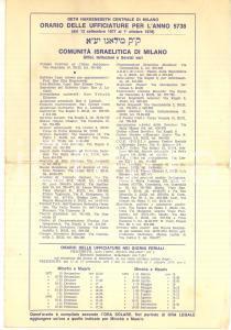 1978 MILANO Comunità Israelitica - Orario delle ufficiature per l'anno 5738
