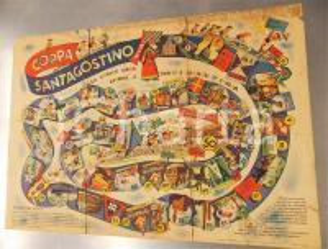 1954 MILANO Calzificio SANTAGOSTINO - Base gioco dell'oca - DANNEGGIATA 50x35 cm