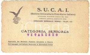 1940 ca S.U.C.A.I. Tessera di riconoscimento - Categoria seniores