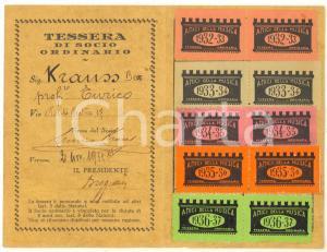1932 VERONA CASTELVECCHIO - Società Amici della Musica - Tessera con bolli