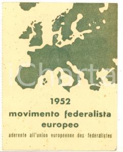 1952 VERONA - Movimento Federalista Europeo - Tessera di riconoscimento