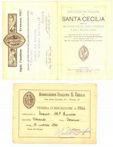 1936 ROMA Associazione Italiana S. Cecilia - Pieghevole con tessera iscrizione