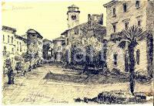 1939 ARTE SIRMIONE  Veduta del borgo - Disegno a china 24x17 cm