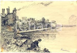 1939 ARTE SIRMIONE  Lavandaia al Castello Scaligero - Disegno a china 24x16 cm