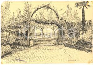 1939 ARTE SIRMIONE  Veduta di un giardino fiorito - Disegno a china 24x17 cm