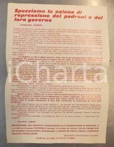 1970 ca MILANO MOVIMENTO STUDENTESCO - Volantino per manifestazione 23x33 cm
