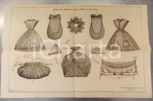 1890 ca PARIS MODE - MAISON THOREL - Articles brodés - Planche 52x34 cm
