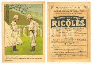 1910 ca Alcool de menthe RICQLÈS - Carte publicitaire ILLUSTREE GERBAULT 9x13 cm