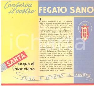 1946 Regie Terme di CHIANCIANO -  ACQUA SANTA - Pieghevole pubblicitario