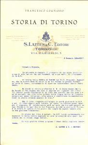 1934 TORINO - S. LATTES Editori - Lettera pubblicitaria
