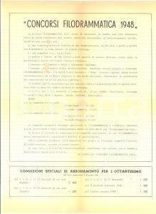 1948 ROMA Concorsi rivista FILODRAMMATICA - Volantino pubblicitario DANNEGGIATO