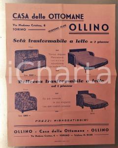 1934 TORINO Casa delle Ottomane OLLINO - Volantino ILLUSTRATO 23x30 cm