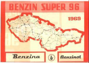 1969 REPUBBLICA CECA - BENZIN SUPER 96 - Pieghevole ILLUSTRATO con mappa