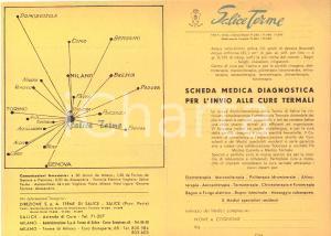 1950 ca SALICE TERME Scheda medica diagnostica per invio alle cure termali