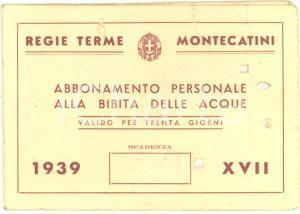 1939 REGIE TERME MONTECATINI - Abbonamento personale alla bibita delle acque
