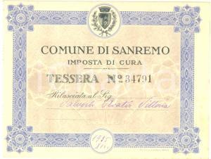 1935 COMUNE DI SANREMO Imposta di cura - Tessera personale