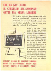 1951 ELEZIONI  - Propaganda DC - I russi faticano molto e guadagnano poco