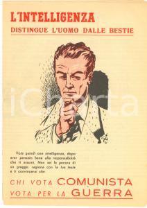 1951 ELEZIONI Propaganda DC - Chi vota comunista vota per la guerra - Pieghevole