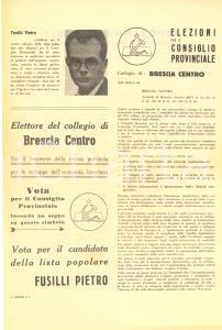 1951 BRESCIA ELEZIONI AMMINISTRATIVE - Propaganda PCI - Vota Pietro FUSILLI