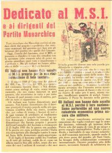 1951 ELEZIONI - Propaganda DC - Dedicato al MSI e Partito Monarchico - Volantino