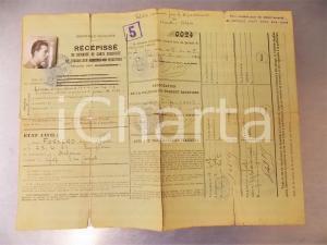 1944 GAP (HAUTES-ALPES) Récépissé travailleur industriel italien Carlo FORNERO