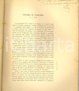 1911 Vittorio CIAN Contro il volgare - Estratto con invio autografo