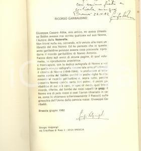 1982 BRESCIA Giorgio VALGIMIGLI Ricordo garibaldino - Invio AUTOGRAFO