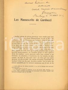 1924 Gabriel MAUGAIN Les manuscrits de Carducci - Invio AUTOGRAFO