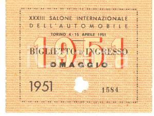 1951 TORINO XXXIII Salone dell'Automobile - Biglietto d'ingresso omaggio