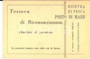 1960 ca Riserva di pesca PORTO DI MARE - Tessera di riconoscimento
