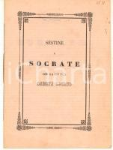 1862 POESIA DIALETTALE PADOVA Sestine a Socrate : che ga criticà Dameta Lucano