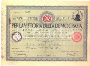 1946 PCI Prestito a premi per le elezioni alla Costituente - Cartella Lire 100