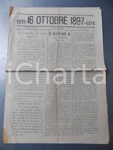 16 Ottobre 1897 - ESTE - Cassala ceduta agli inglesi - Giornale tip. STRATICO - RARO