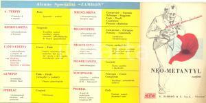 1956 VICENZA Farmaceutica ZAMBON Confetti NEO-METANTYL ^Pieghevole pubblicitario
