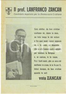 1958 DEMOCRAZIA CRISTIANA Lanfranco ZANCAN - Volantino propaganda