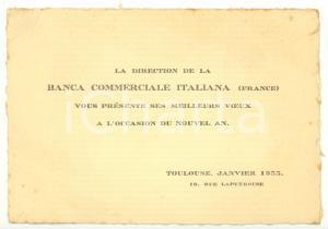 1933 TOULOUSE (F) Banca Commerciale Italiana *Biglietto augurale NATALE - FG