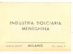 1950 ca MILANO Industria Dolciaria Meneghina *Biglietto PUBBLICITARIO - FP