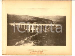 1888 Ferrovia ROMA-SULMONA - Viadotto di FORCA CARUSO - Stampa 20x16 cm