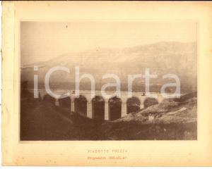 1888 Ferrovia ROMA-SULMONA - Veduta del viadotto PREZZA - Stampa 20x16 cm