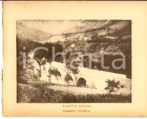 1888 Ferrovia ROMA-SULMONA - Veduta del viadotto SCIURGO - Stampa 20x16 cm