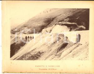 1888 Ferrovia ROMA-SULMONA - Veduta del viadotto S. CARMELIANO - Stampa 20x16 cm